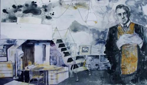At the study. Mixed media on paper, 2012.