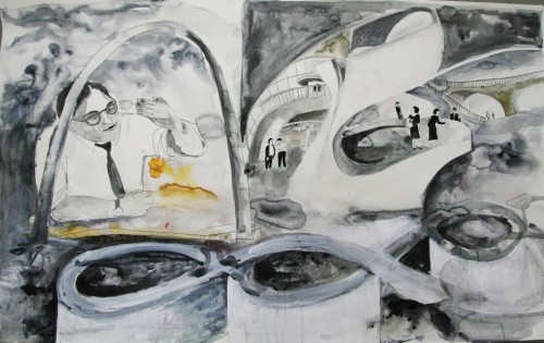 Gateway arch. Mixed media on paper, 2012.