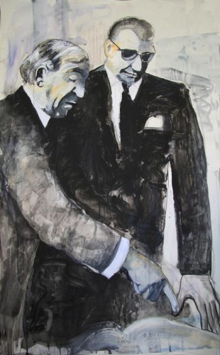 With the mayor. Mixed media on paper, 2012.